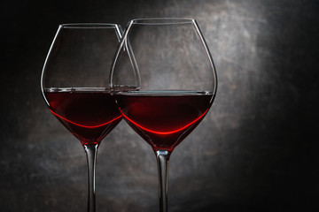 Glasses with old red wine