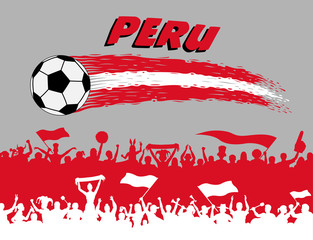 Peru flag colors with soccer ball and Peruvian supporters silhouettes