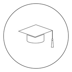 Graduation cap black icon in circle vector illustration isolated .