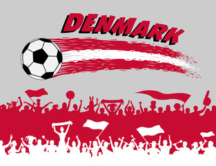 Denmark flag colors with soccer ball and Danish supporters silhouettes