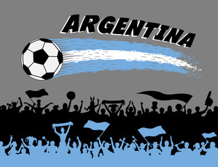 Argentina flag colors with soccer ball and Argentinian supporters silhouettes