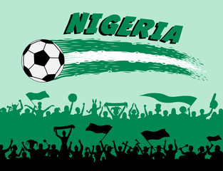 Nigeria flag colors with soccer ball and Nigerian supporters silhouettes