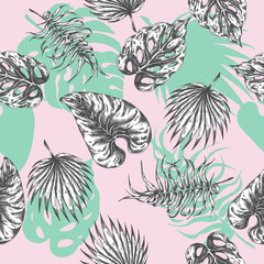 Tropical leaves. seamless pattern Botanical background with tropic plants. Exotic palm leaf textile print Summer paradise design