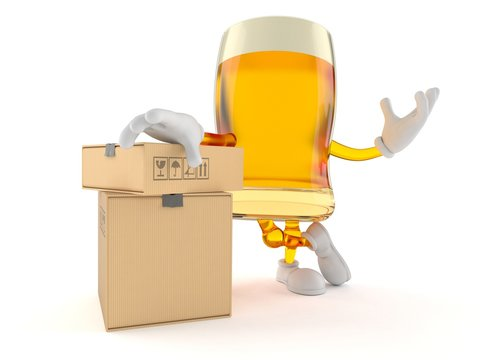 Beer character with stack of boxes
