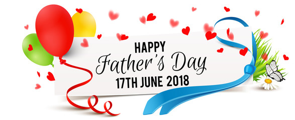 paper banner with necktie, balloons and heart - shaped confetti - Father's Day, 17th June 2018