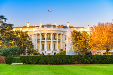 The White House illuminated by evening sun, Washington DC
