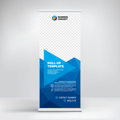 Roll-up, advertising banner template, stand for presentations, exhibitions, promotional products, conferences, seminars, photo placement, text, geometric blue background