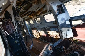 Intérieur d'une épave d'avion dans le désert du Nevada aux Etats Unis