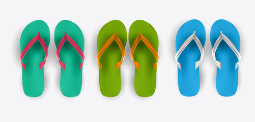 Beach Flip Flop Collection Set Vector Illustration