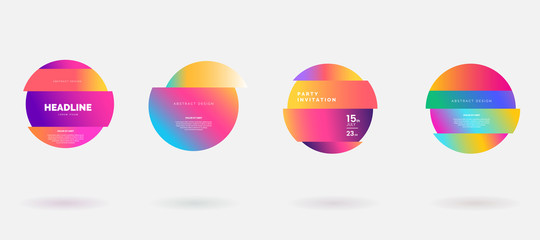 Vector colorful deformed circles in glitch style. Abstract round frame for text. Modern graphic with gradient color isolated on white background. Use for flyer, business card, invitation, gift cards.