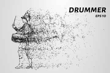 Drummer of the particles. Drummer from the school band.