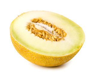 Half ripe melon on a white, isolated.