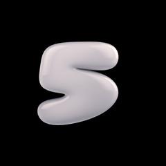 Number five of milk, white colors on a black background, 3d render