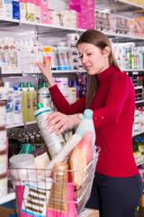 Woman is choosing bath and body products