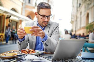 Businessman in a restaurant