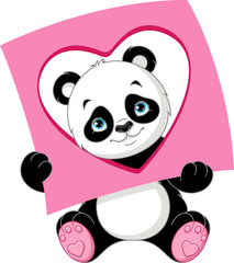 Panda with a card of geometric shape: Heart.