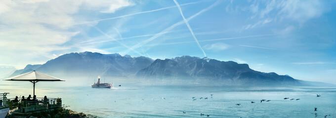 Wall Mural - Geneva Lake in Vevey town. Vaud canton, Switzerland