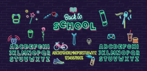 Neon back to school icons and font set isolated on brick wall background. For logo, poster, banner. Headline and small condensed uppercase letters.