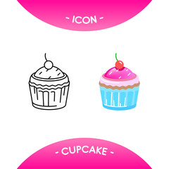Cake icons in different style - black line stroke and colored versions. Vector symbols, pictograms for web, mobile app, logo, infographics, visualizations, promotion, ad