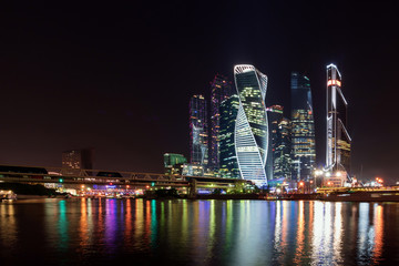 Business district of Moscow in the center of the city in colorful night lights.