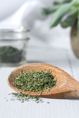 Dried Dill on Wood Spoon