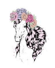A beautiful horse in a flower wreath. Roses and peonies. Vector illustration.