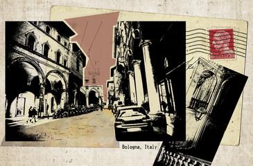 retro postcard of Bologna