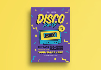 Party Flyer with Cassette Tape Illustration