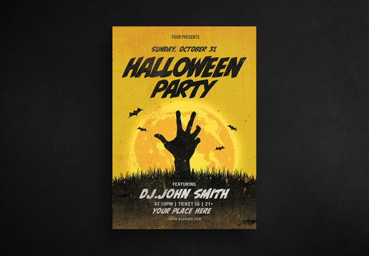 Halloween Party Flyer Layout with Zombie Hand and Yellow Moon