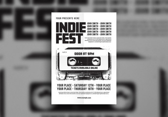 Music Flyer Layout with Cassette Tape Element