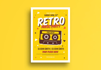 Retro Music Party Flyer Layout with Cassette Tape Illustration