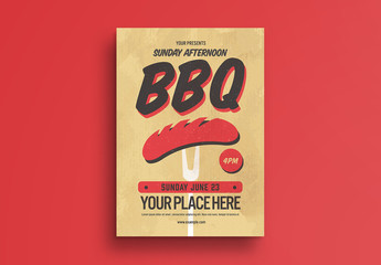 BBQ Party Flyer Layout with Hot Dog Illustration
