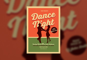 Dance Night Flyer Layout with Couple Silhouette