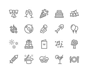 Simple Set of Related Vector Line Icons. Contains such Icons as Bouquet of Flowers, Karaoke, Dj, Masquerade and more. Editable Stroke. 48x48 Pixel Perfect.