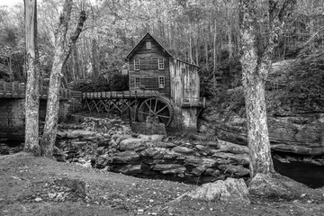 This is a black and white of the famous Grist Mill located in West Virginia.