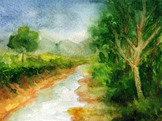watercolor paintings - nature paintings , mountains, trees  and clouds scenery