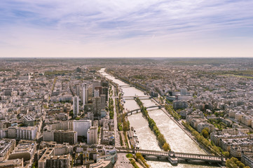 Top view of the Seine river and Paris