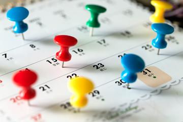 Various color thumb tack pins on calendar as reminder Wall mural