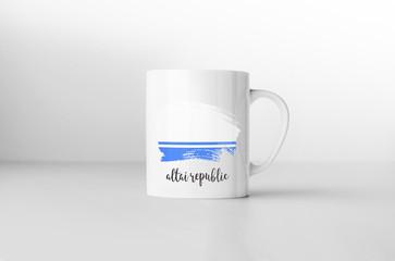 Altai Republic flag souvenir mug on white background. 3D renderi