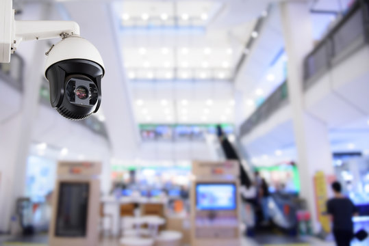 Security CCTV camera or surveillance system in office building shopping mall