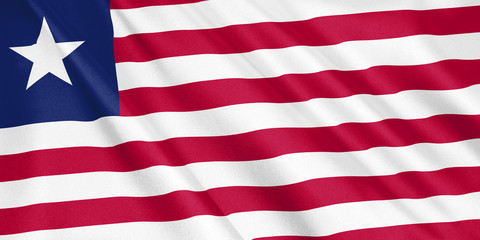Liberia flag waving with the wind, wide format, 3D illustration. 3D rendering.
