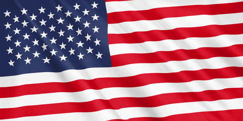 United States flag waving with the wind, wide format, 3D illustration. 3D rendering.