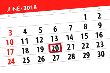Calendar planner for the month, deadline day of the week, wednesday, 2018 june 20