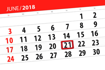 Calendar planner for the month, deadline day of the week, thursday, 2018 june 21