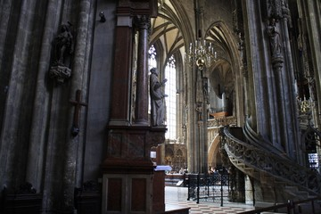 View of inside of St Stephens Cathedral in Vienna Austria