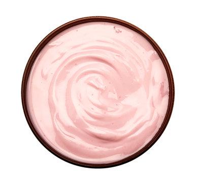 blueberries yogurt in brown bowl , pink nature yogurt texture , top view and overhead shot