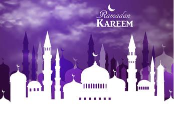 Ramadan Kareem greeting with mosque