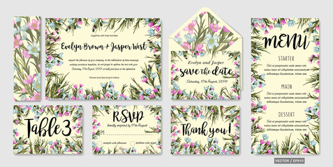 Wedding invitation frame set; blue wax flowers, leaves, watercolor. Hand drawn Vector Watercolor style.  Save date, thank you, rsvp, menu, label, envelope