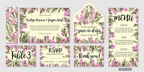 Wedding invite, menu, rsvp, thank you label save the date card Design with pink wax flowers, green leaves greenery foliage bouquet. Vector cute rustic delicate