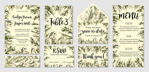 Watercolor vector cute set of wedding invitation templates with leaves and wax flowers and place for inscription. Save date, thank you, rsvp, menu, label